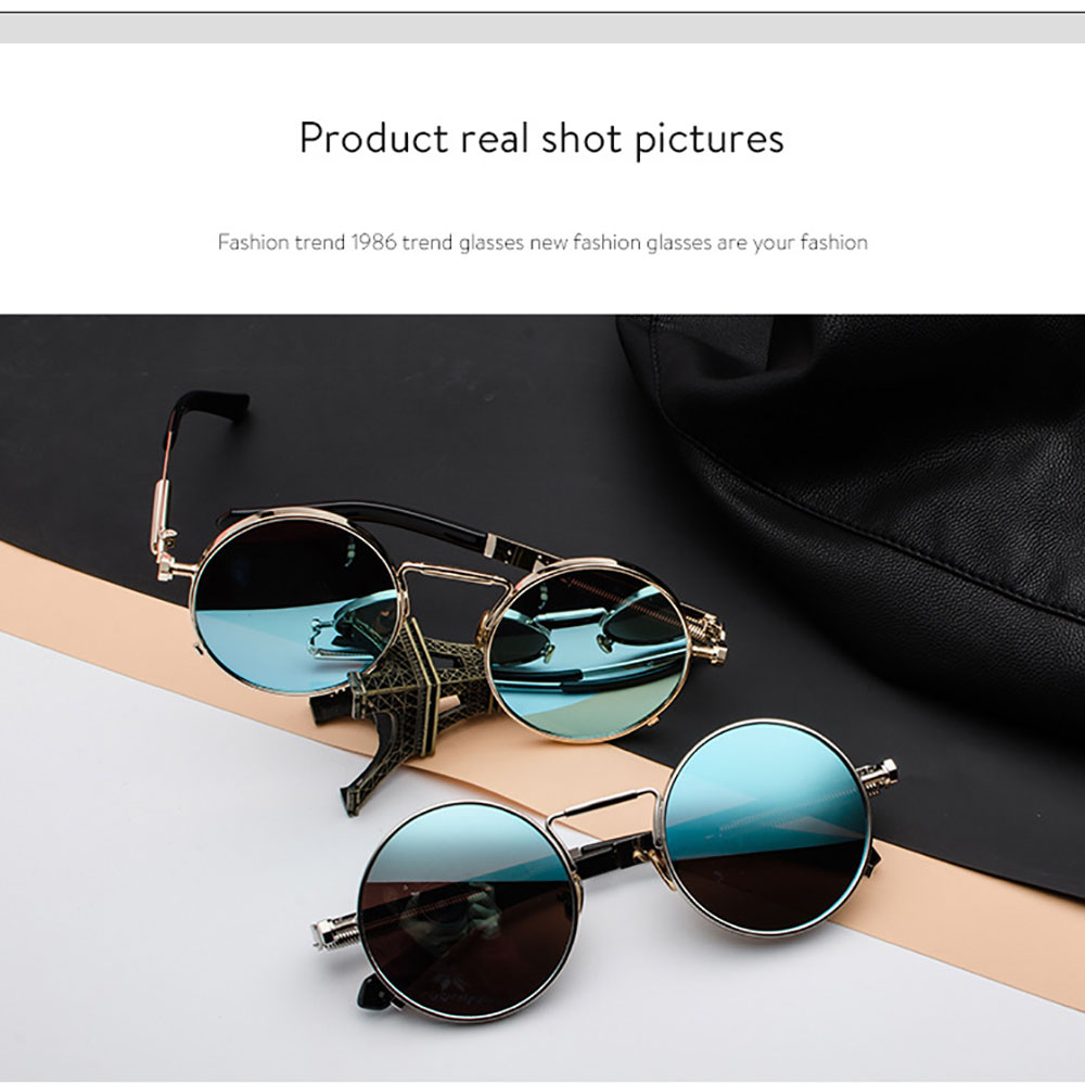 Vintage Retro Polarized Steampunk Sunglasses Fashion Metal Round Mirrored Eyewear Men Circle Sun Glasses UV400