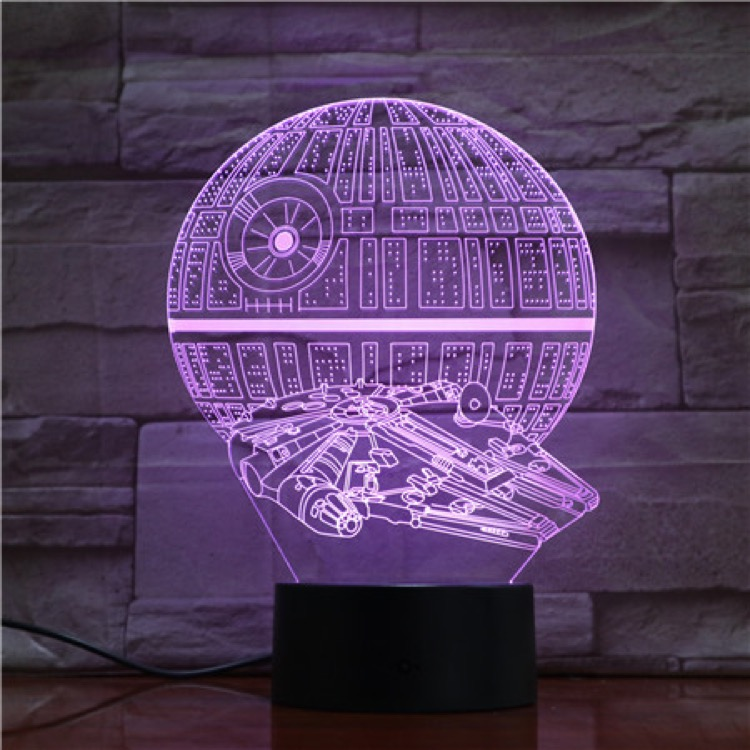 3D Lamp Star Wars Death Star Best Gift for Fans for Desk Decoration 7 Color with Remote Touch Sensor Led Night Light Lamp