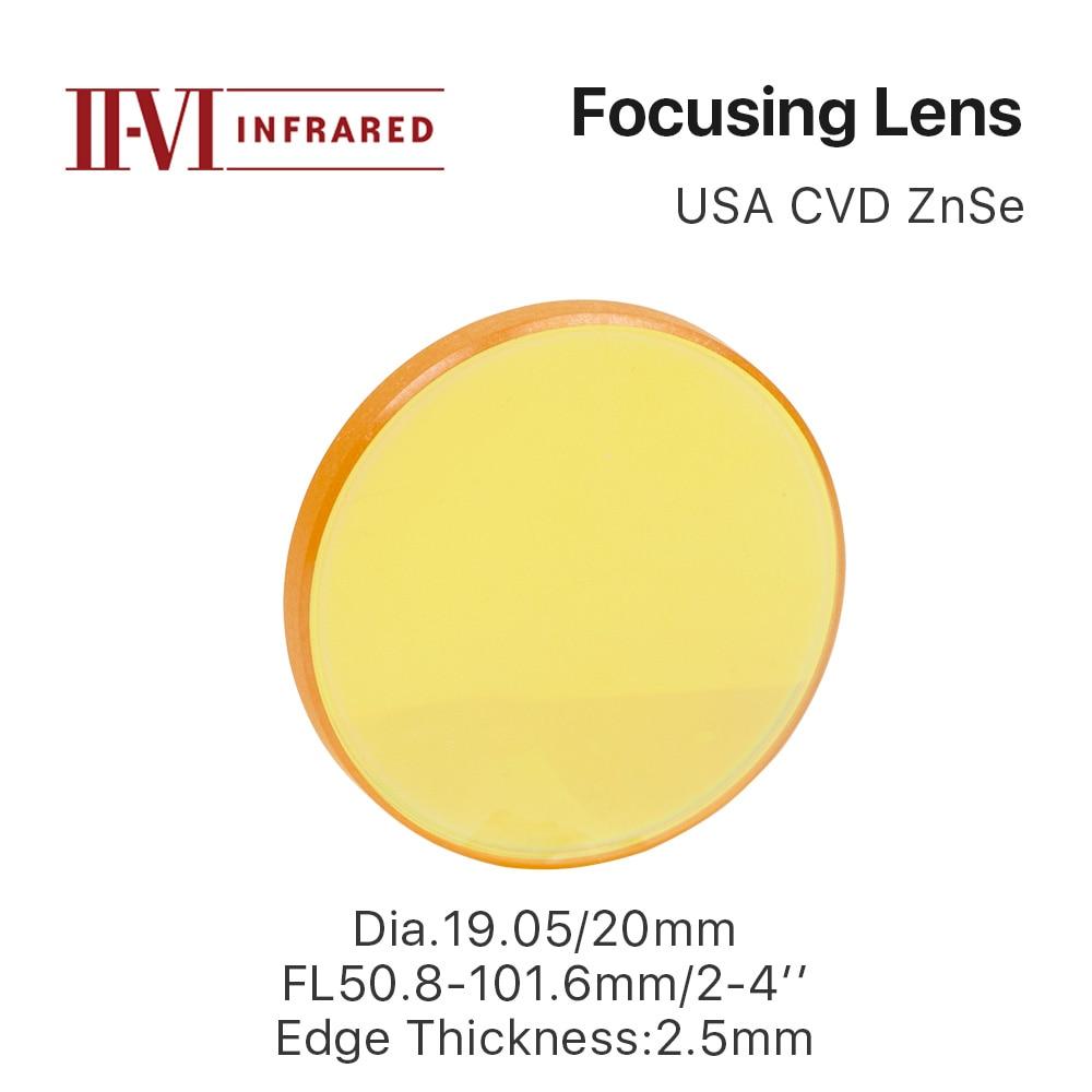 Cloudray II-VI ZnSe Focus Lens DIa. 19.05mm 20mm FL 50.8-101.6mm 2-4