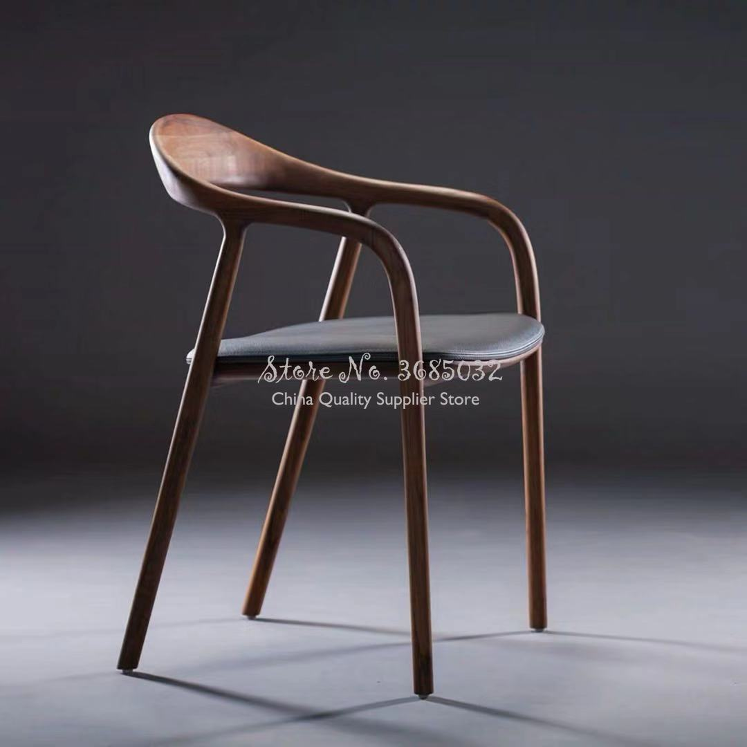 Nordic High Quality Classic Wooden Dining Chair PU Leather Dining Room Modern Minimalist Armchair President Chairs