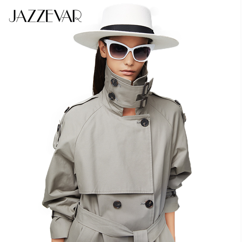 JAZZEVAR 2019 New Arrival Autumn Top Trench Coat Women Double Breasted Long Outerwear For Lady High Quality Overcoat Women9003-1