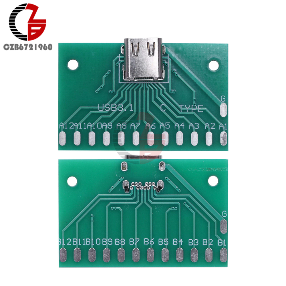 Type-C USB3.1 Female Connector Adapter Test Board USB 3.1 24P 24Pin Socket Base PCB Board For Arduino USB 2.0 DIY