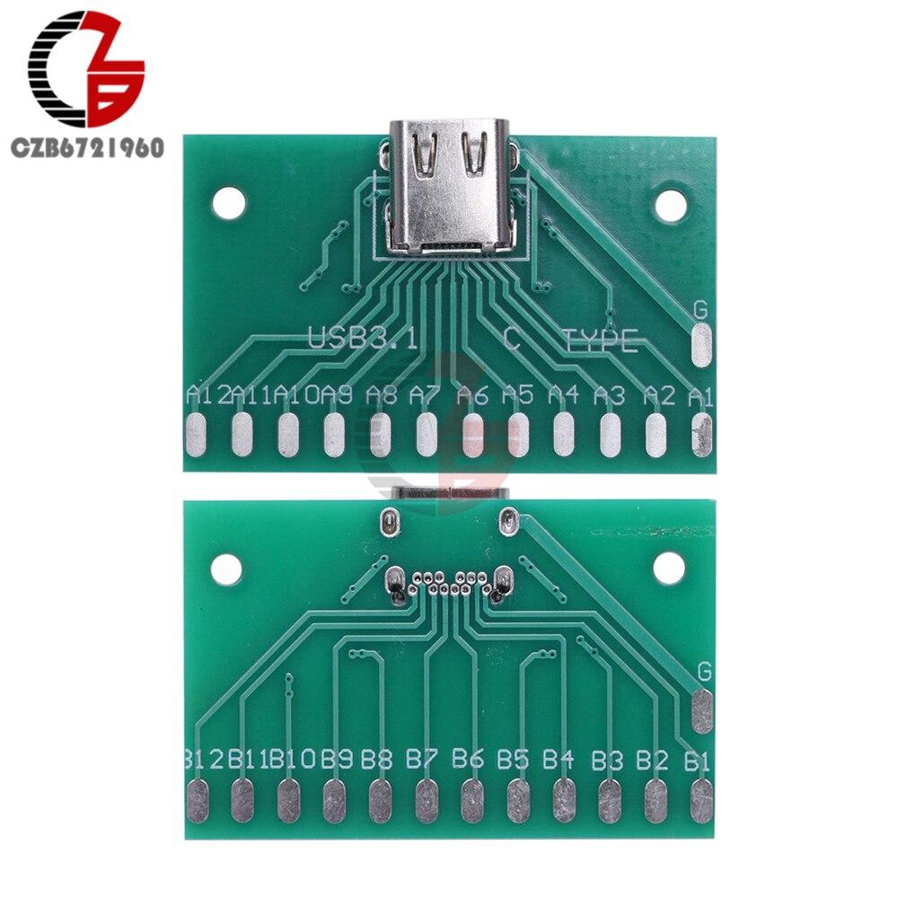 Type-C USB3.1 Female Connector Adapter Test Board USB 3.1 24P 24Pin Socket Base PCB Board For Arduino USB 2.0 DIY