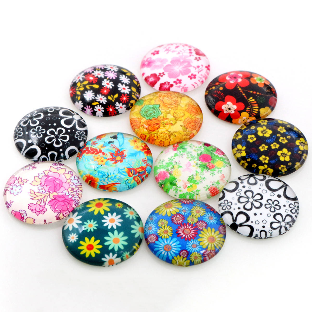 8mm-25mm Flower Print Photo Glass Cabochons Mixed Color Cabochons For Bracelet Earrings Necklace Bases Settings