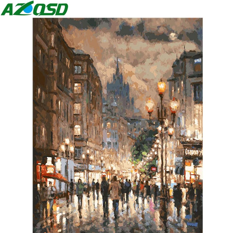 AZQSD DIY картина маслом по номерам пейзаж картины для Гостиная украшения дома Раскраска по номерам город ручная роспись подарок