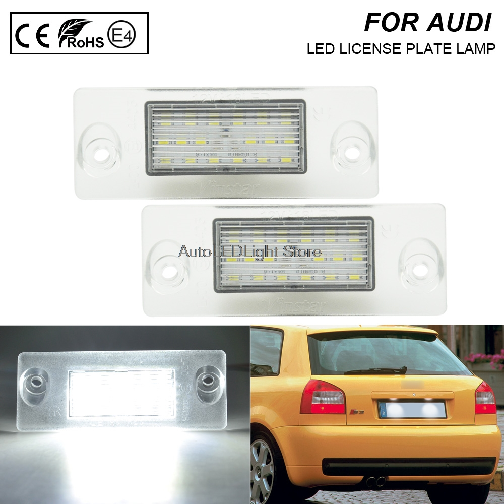 2X auto light <font><b>led</b></font> license plate light car styling fit for <font><b>Audi</b></font> <font><b>A4</b></font> <font><b>B5</b></font> Avant/Wagon A3 8L S5 <font><b>B5</b></font> Avant A3/S3/Sportback <font><b>A4</b></font>/S4 Avant image