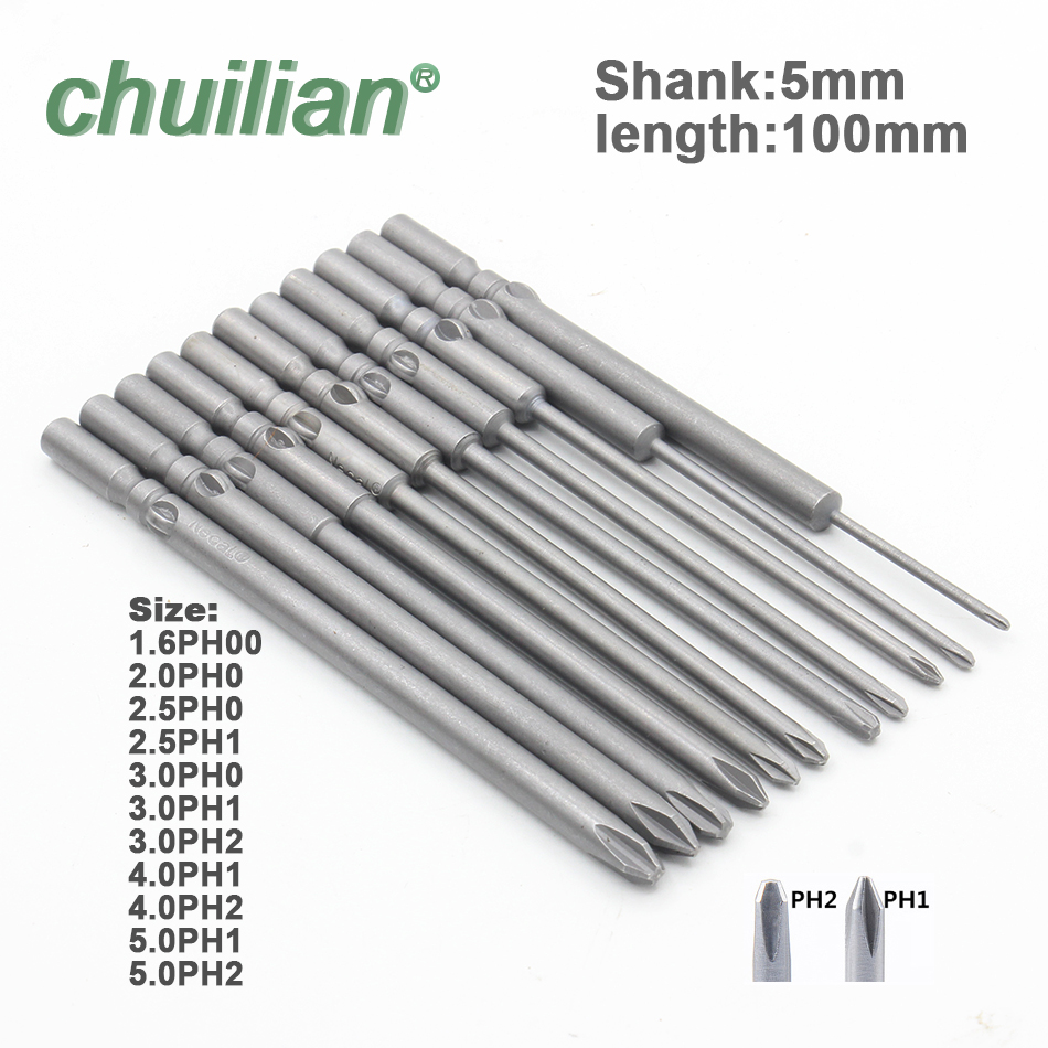 801 PH1 PH2 Shank 5mm Magnetic Round Phillips Cross Head Screwdriver Bit Set Hand Tools Long 100mm