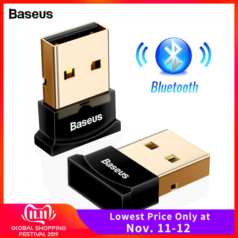 BASEUS USB Bluetooth Adapter Dongle untuk Komputer PC PS4 Mouse AUX Audio Bluetooth 4.0 4.2 5.0 Speaker Musik Receiver Transmitter