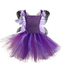 Paarse Fee Vlinder Tutu Jurk Meisje Met Vleugels Fancy Baby Meisjes Verjaardag Jurken Kinderen Cosplay Halloween Kostuum