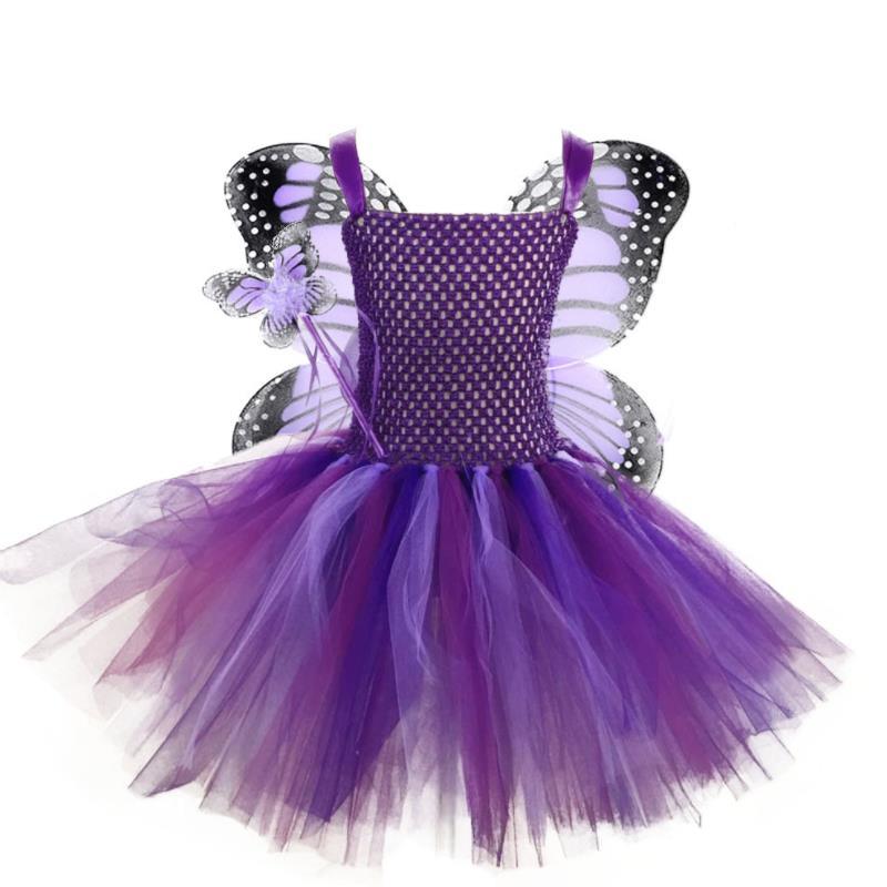 Roxo fada borboleta tutu vestido menina com asas fantasia bebê meninas festa de aniversário vestidos crianças cosplay halloween traje