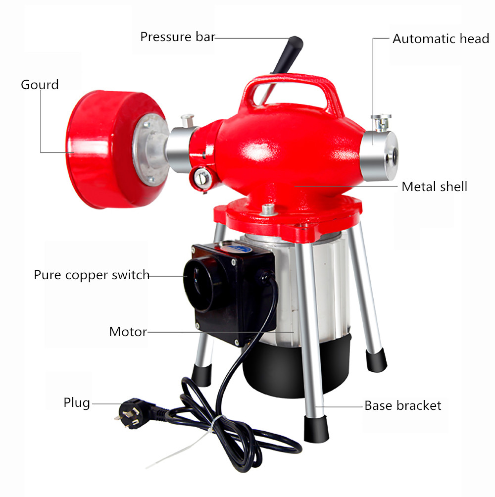 220V Electric Pipe Dredging Machine Household Kitchen Toilet Pipe Cleaner Drain Cleaning Machine 45M 2200W Y