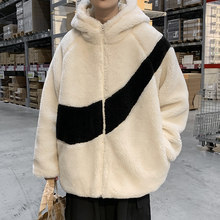 Autumn and winter hooded cashmere jacket men's fashion loose student thickened warm wool coat cotton padded jacket
