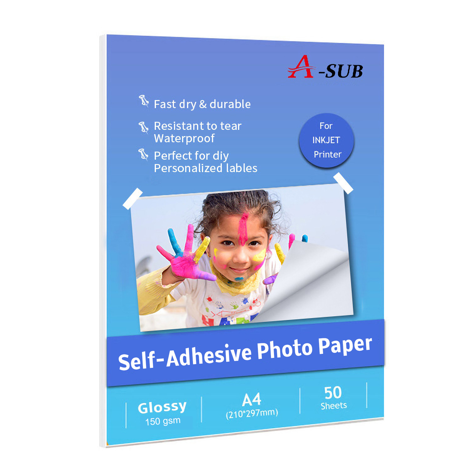 A4 150g 50sheets Inkjet Self-Adhesive Glossy Photo Paper