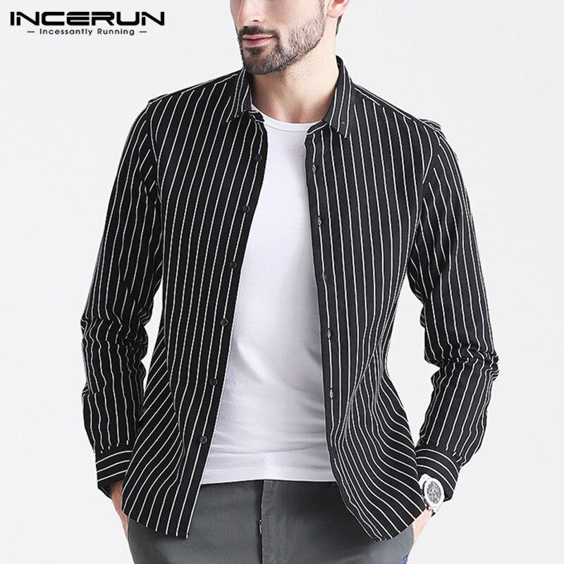 INCERUN Fashion Striped Brand Shirt Men Long Sleeve Handsome Button Casual Camisa Streetwear Business Basic Shirt Men 2019 S-5XL