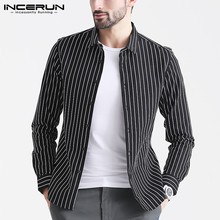 INCERUN Fashion Striped Brand Shirt Men Long Sleeve Handsome Button Casual Camisa Streetwear Business Basic 2019 S-5XL