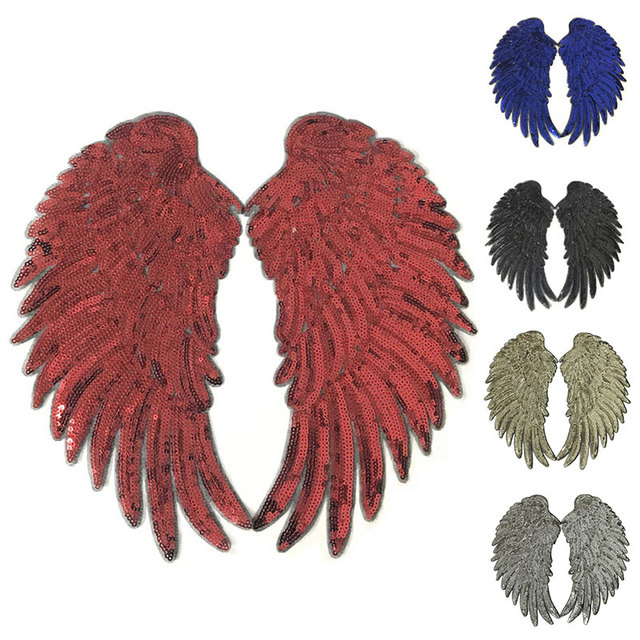 1 Pair Fashion Sequins Wing Patch for Clothing Applique for Jeans DIY Accessories Cute Sew on Patches 26*13cm 3D Feather Sticker