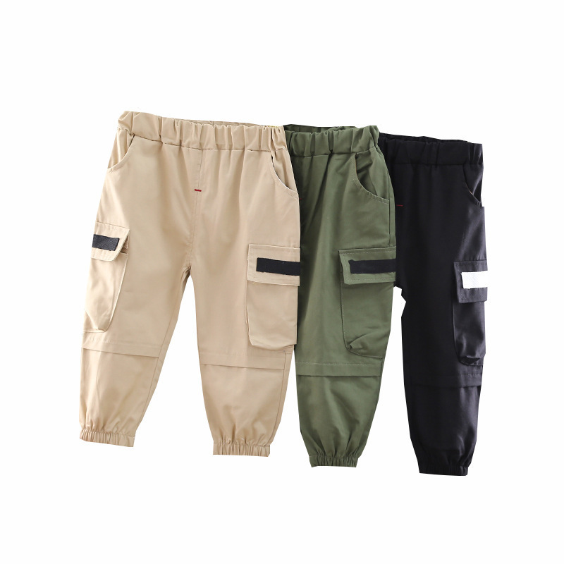 2020 New Spring Autumn Children Fashion Clothing Baby Boys Girls Elastic Pocket Work Trousers Kids Infant Casual Pants