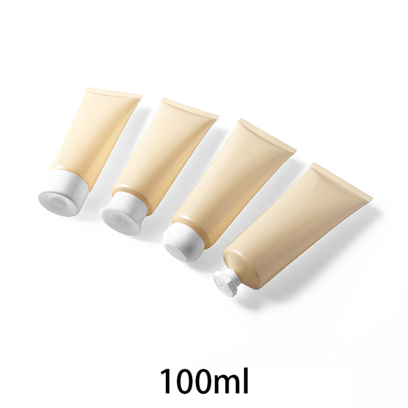 Free Shipping 100g Empty Cosmetic Tube 100ml Plastic Squeeze Bottle Face Aloe Cream Lotion Packaging Container Light Yellow