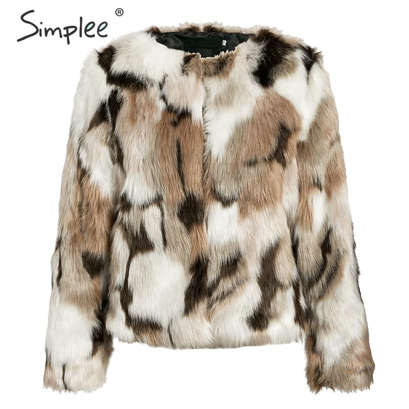 Simplee 2019 New winter fake fur V-neck buttons coats women Elegant fluffy long sleeve jackets Female warm office casual outwear 6