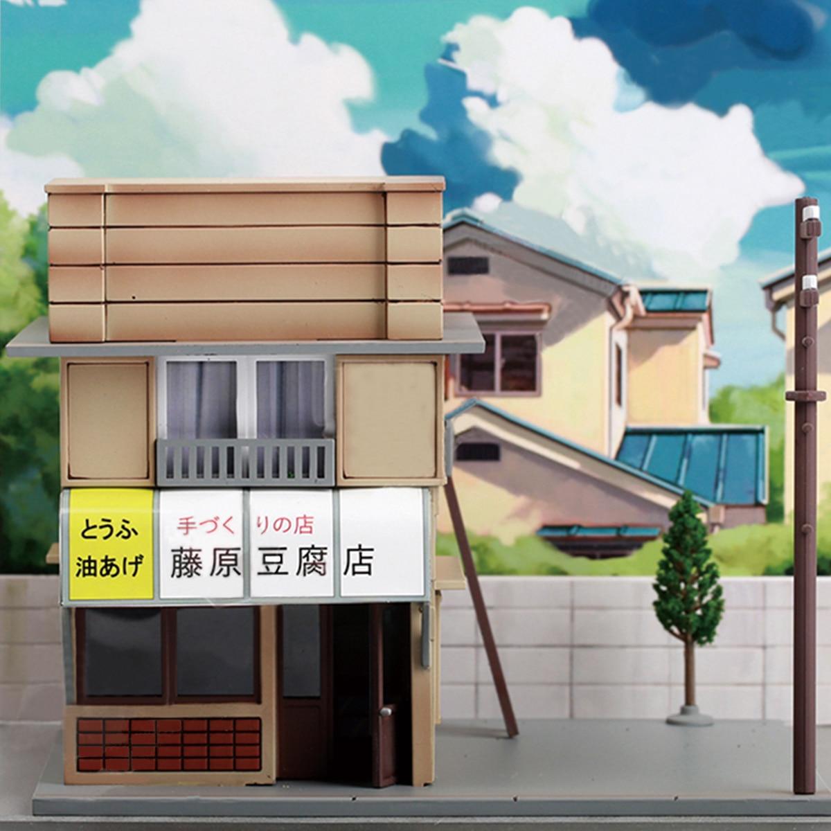 1:64 1Set  Architecture For Initial D Fujiwara Tofu Shop Kit Diorama Set Not Include Any Cars Scene LED Model Building Shop