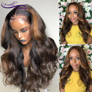 Image 1 - Highlight Lace Frontal Wigs 13x6 Deep part Lace front Wigs Glueless Lace Human Hair Wigs Ombre Wigs Brazilian Remy Wavy Wig