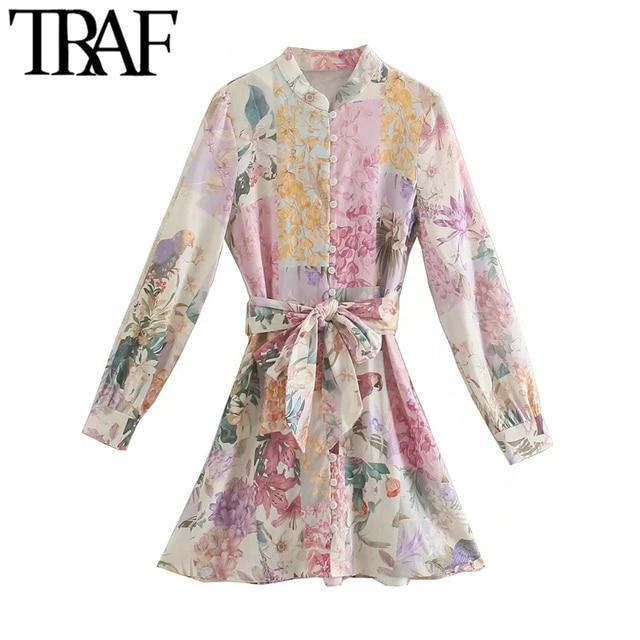 TRAF Women Chic Fashion With Belt Floral Print Linen Mini Dress Vintage O Neck Long Sleeve Female Dresses Vestidos 1