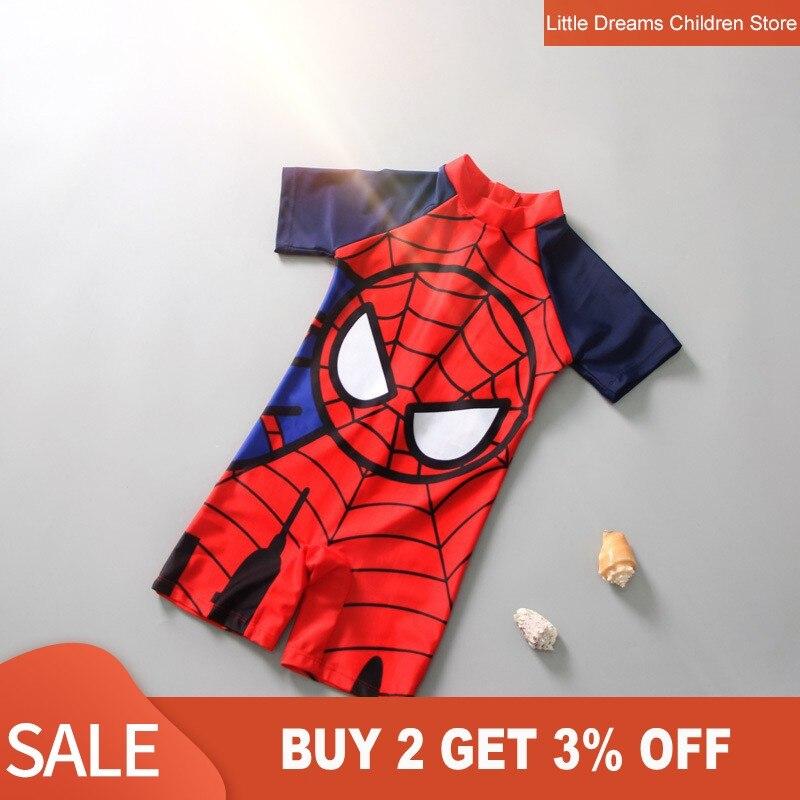 Swimwear Kids One Piece Baby Swimwear Spider-Man Shark Crab Swimming Boys Beachwear Baby Sunscreen Quick Dry Bathing Suit