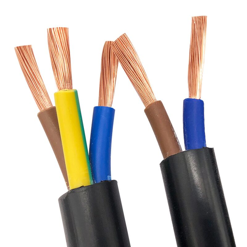 2 Meters Black Cover RVV Copper Core Standard <font><b>Cable</b></font> Electrical Wires 2 Core 3 Core <font><b>1mm</b></font> 1.5mm 2.5mm 4mm 6mm Meter Wire image