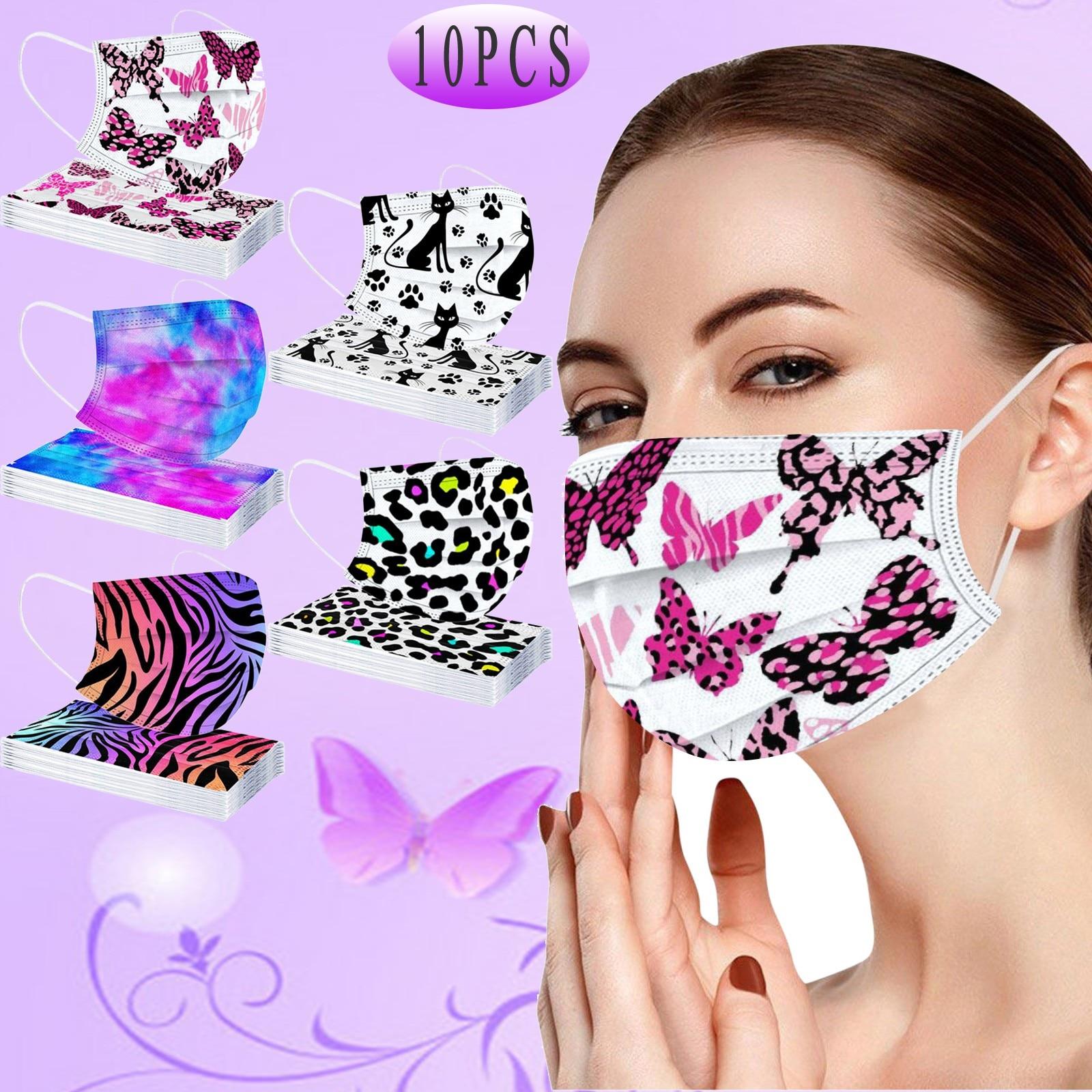 10 шт для полости рта для взрослых Маска Mascarillas бабочка кошка печать одноразовая маска для лица 3-слойный защитный Пылезащитный модные маска ...