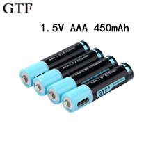 GTF 100% capacity 1.5V AAA Battery 450mAh USB Rechargeable Battery 1.5V 675mwh For Remote Control Toys AAA batteries