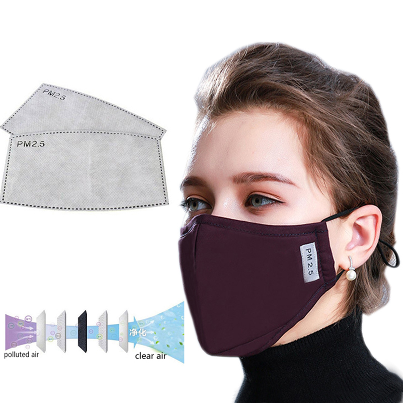 PM2.5 Cotton Black Mouth Mask Anti Dust Mask With 2 Activated Carbon Filter Windproof Mouth-muffle Face Masks For Women Men