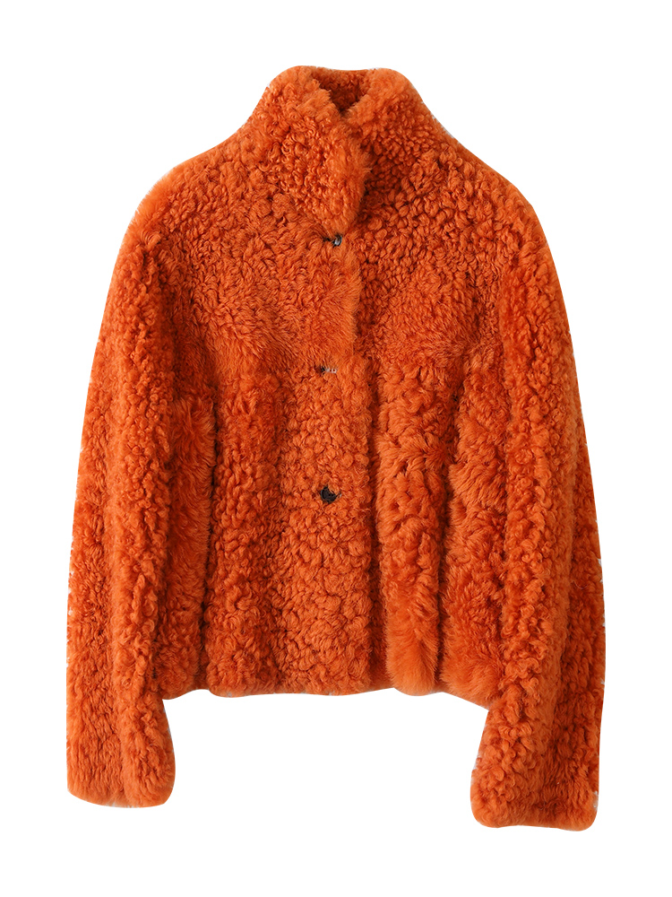 Maylofuer Orange Real rolled wool fur coat short women elegant sheep fur jacket female winter genuine leather with stand collar