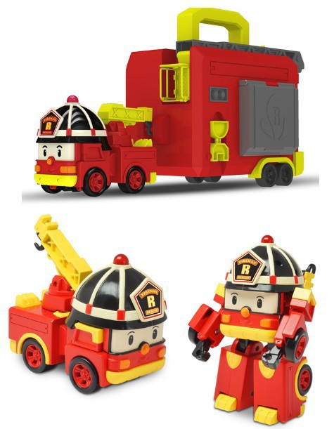 Genuine Product Silverlit Poli Transformation Combat Team Perley Robot Police Car Fire Truck Portable Set CHILDREN'S Toy