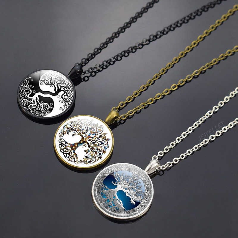 2019 HOT Tree of Life Necklace Art Photo Glass Cabochon Jewelry Vintage Pendant Life Tree Necklaces Women Party Fashion Gifts
