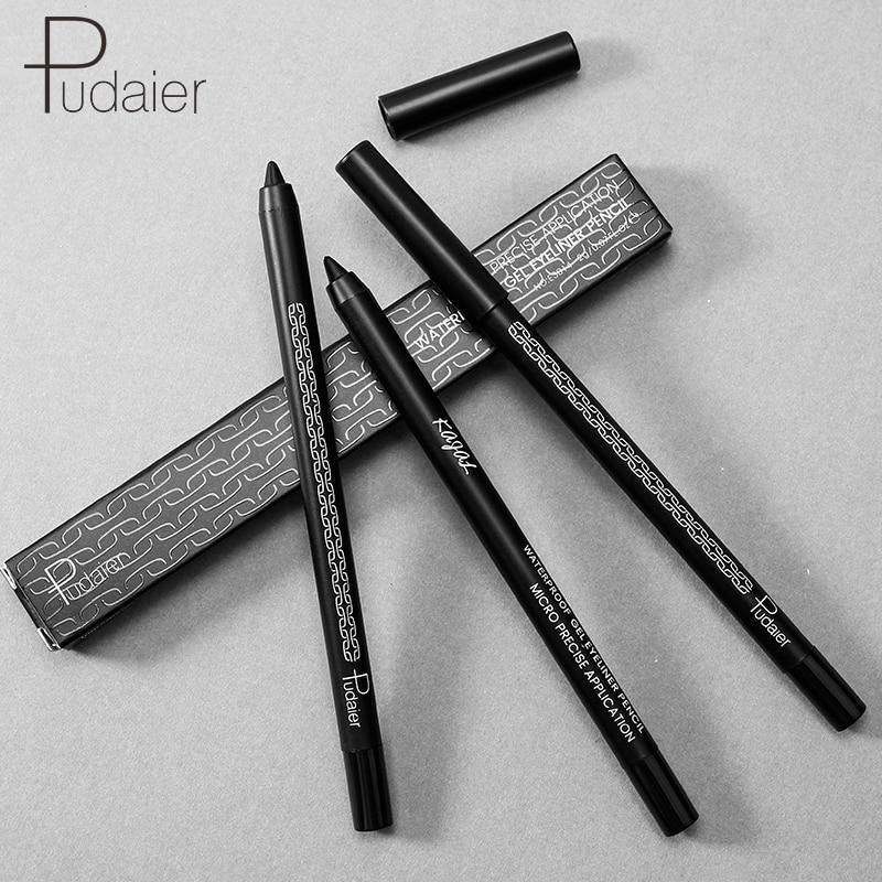 Pudaier 1pcs Black Eyeliner Gel Pen Make Up Crayon Waterproof 24 Hours Long Lasting Easy To Wear Solid Eyeliner Kajal Tattoo Pen