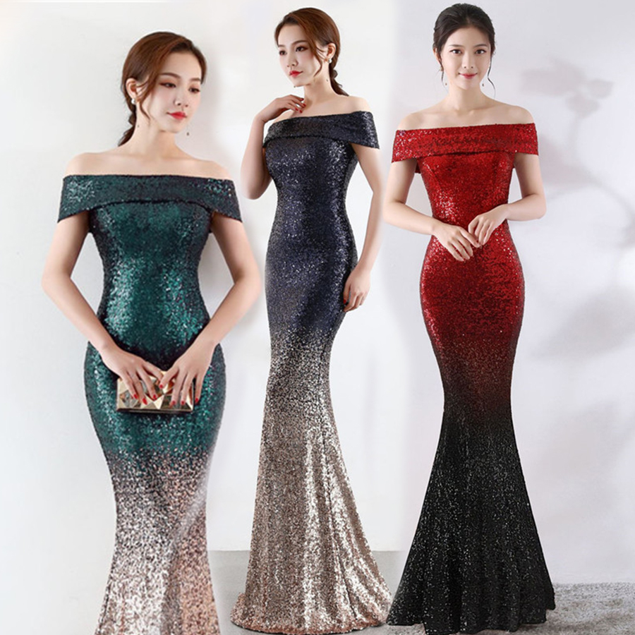 Mermaid Dress Boat Neck Short Sleeve Robe De Soiree Off The Shoulder Evening Dresses For Women Sequined Evening Gown 2019 C098
