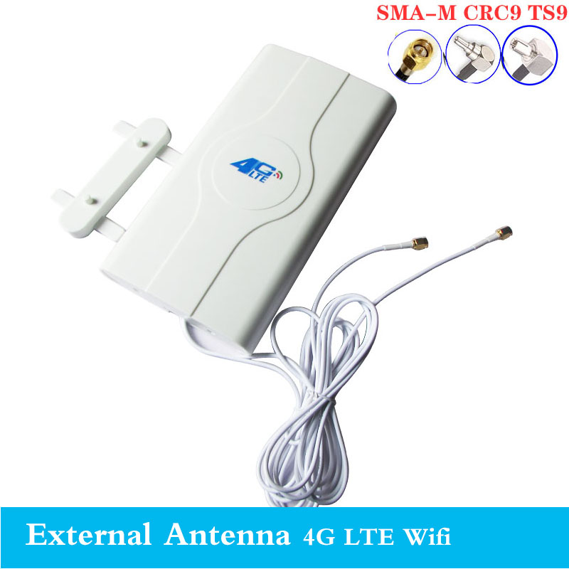 2020 3G 4G LTE Antenna 4G MIMO Antenna TS9 External Panel Antenna CRC9 SMA Connector 3M 700-2600MHz For 3G 4G Huawe Router Mode