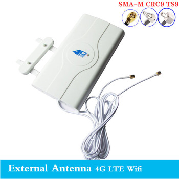 2020 3G 4G LTE Antenna 4G MIMO antenna TS9 External Panel Antenna CRC9 SMA Connector 3M 700-2600MHz for 3G 4G Huawe router mode indoor high gain 700 2600mhz 4g lte mimo antenna with 2 pcs 2m cable with crc9 sma ts 9 male connector
