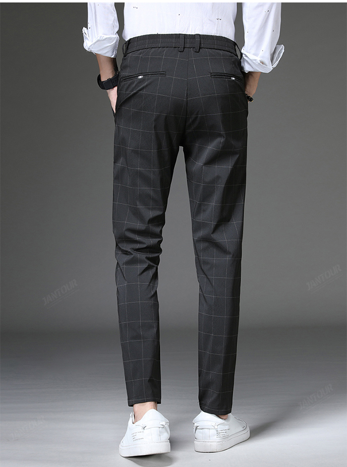 Jantour 2020 Spring New Casual Pants Men Slim Fit Plaid Fashion Gray black Trousers Male Brand Clothing business work pant 28-38 62