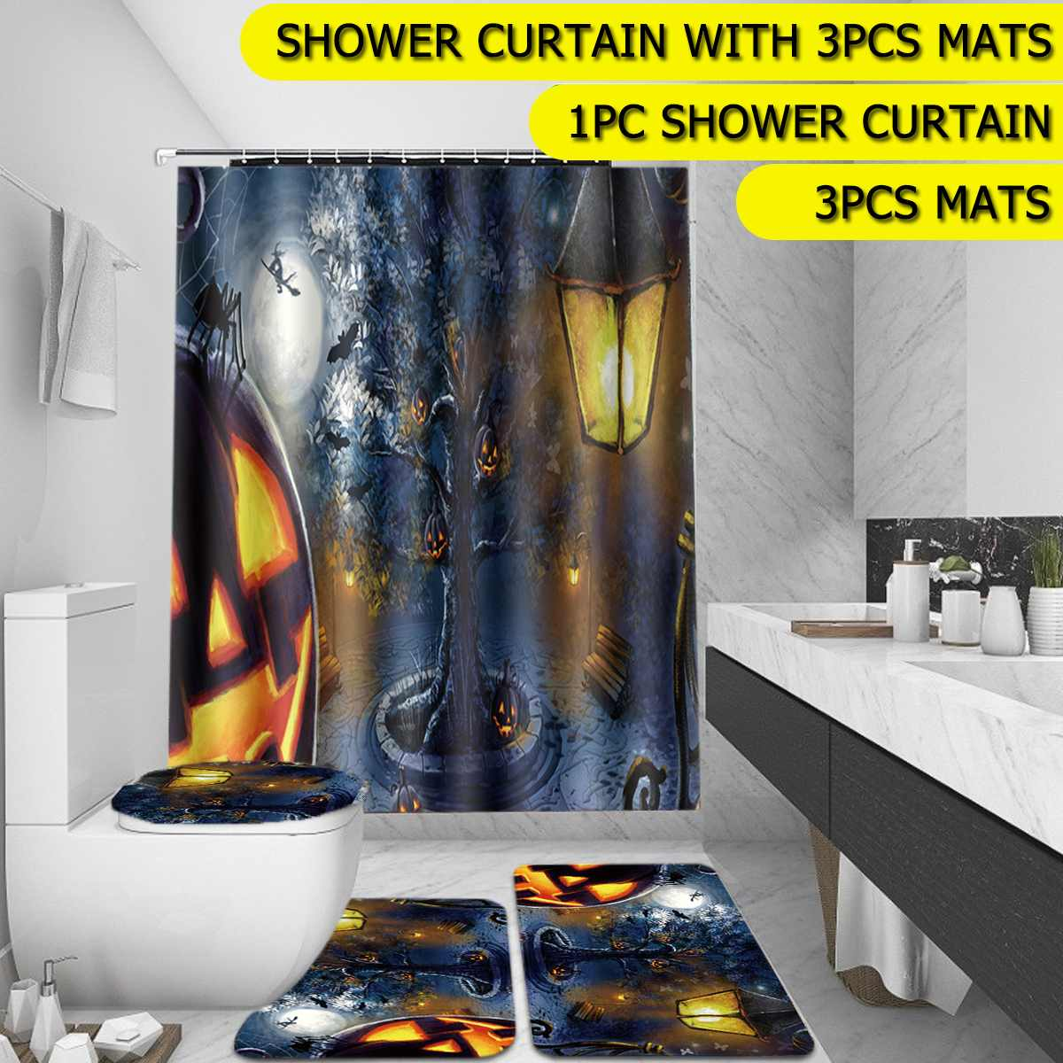 Halloween Pumpkin Shower Curtain BathMat Toilet Cover Rugs Bathroom Set 1//3//4Pcs