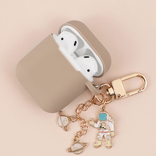 Cute Cosmic Astronaut spaceman Charlie Brown Dog metal keychain silicone case for Airpods 2 Bluetooth Earphone Accessories cover