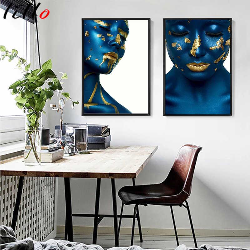 Настенная картина «Синяя Золотая женщина» в скандинавском стиле, Современная Картина на холсте с изображением сексуальных девушек, Модульная картина на стену, картины для гостиной, домашний декор
