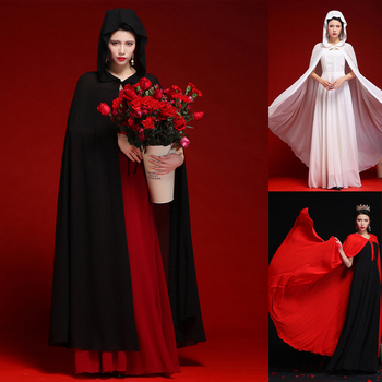 Women Chiffon Bridal Cape Long Wedding Cloak Hooded Elegant Lady Party Prom Cape Cosplay Witch Pirate Rolled Cloak Black Red