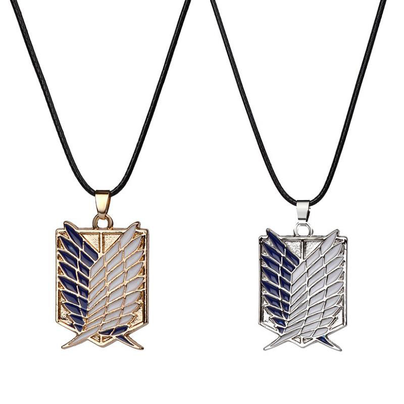 1pc Anime Attack on Titan Alloy Necklace Figure Toys Wings of Liberty Shingeki No Kyojin Leather Chain Gold Silver Pendant Gift