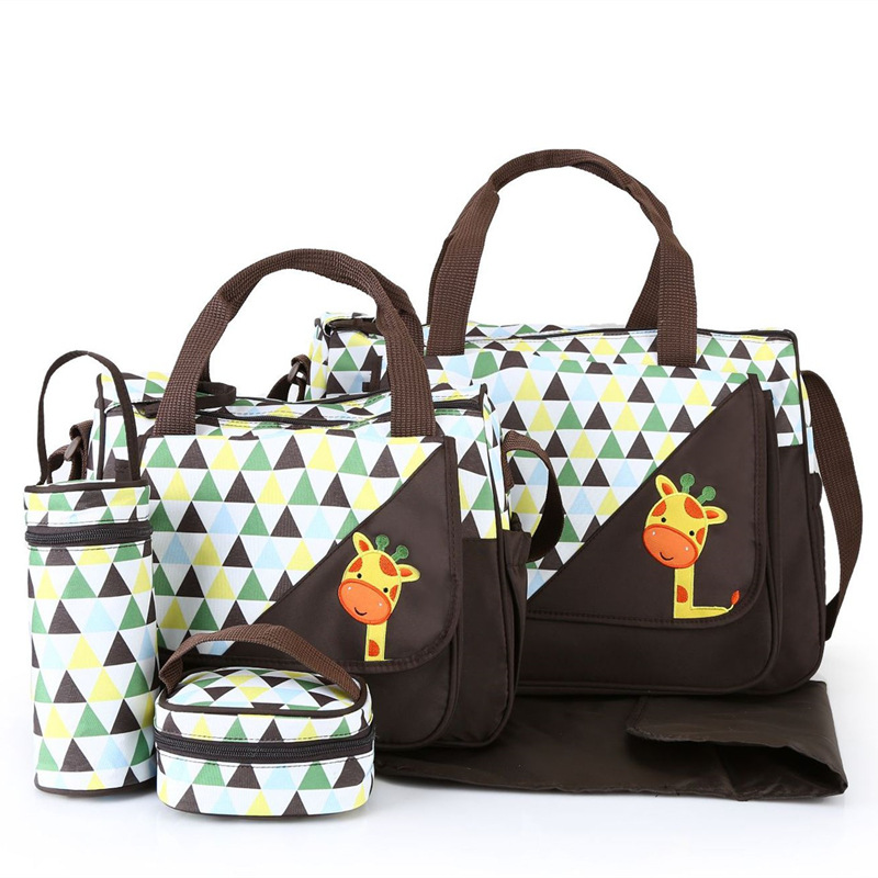 New fashion 5 pieces Mummy Bag Cute Cartoon Pattern Diaper Bag Multifunction Mother Bag For Baby Travel Maternity Bag