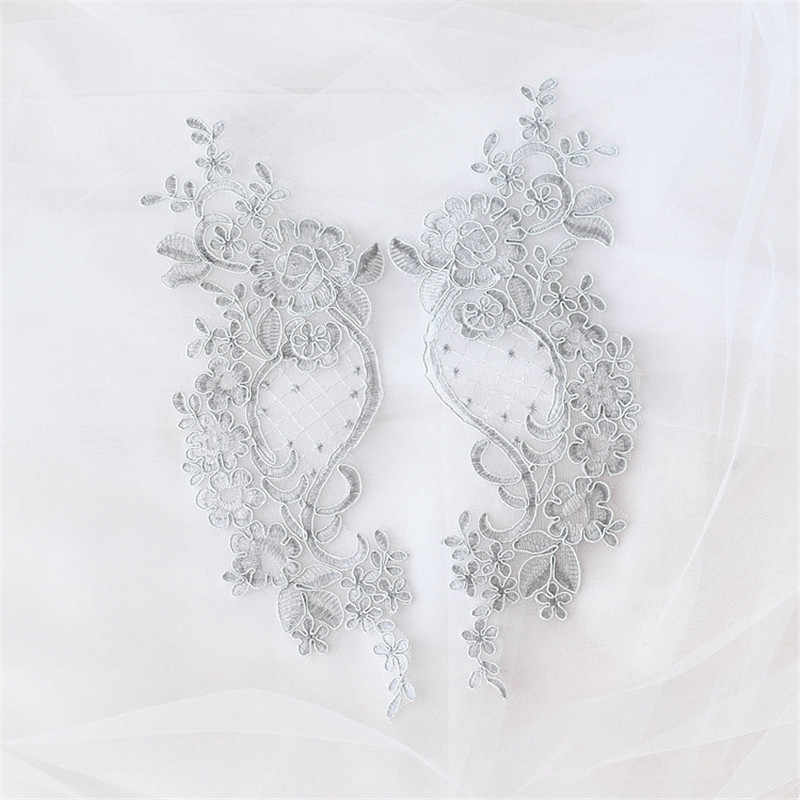 2 stuks Wit Ivoor zilver draad Snoer pailletten glitter Bridal Lace Applique Trim 27X10cm LA59