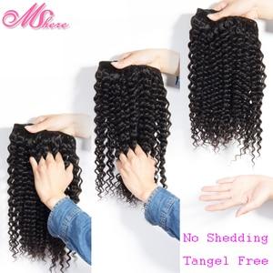 Image 4 - Mshere 4 Stks/partij Peruaanse Diepe Krullend Wave 3 Bundels Met Sluiting Niet Remy Hair Gratis Deel Lace Sluiting Met Menselijk haar Bundels 1B #