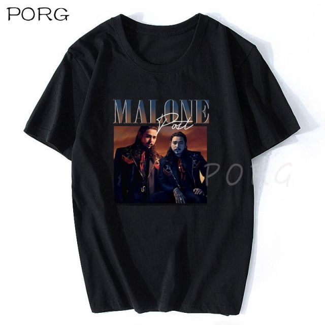 Post Malone Print Short Sleeve T-shirt with O-Neck 1