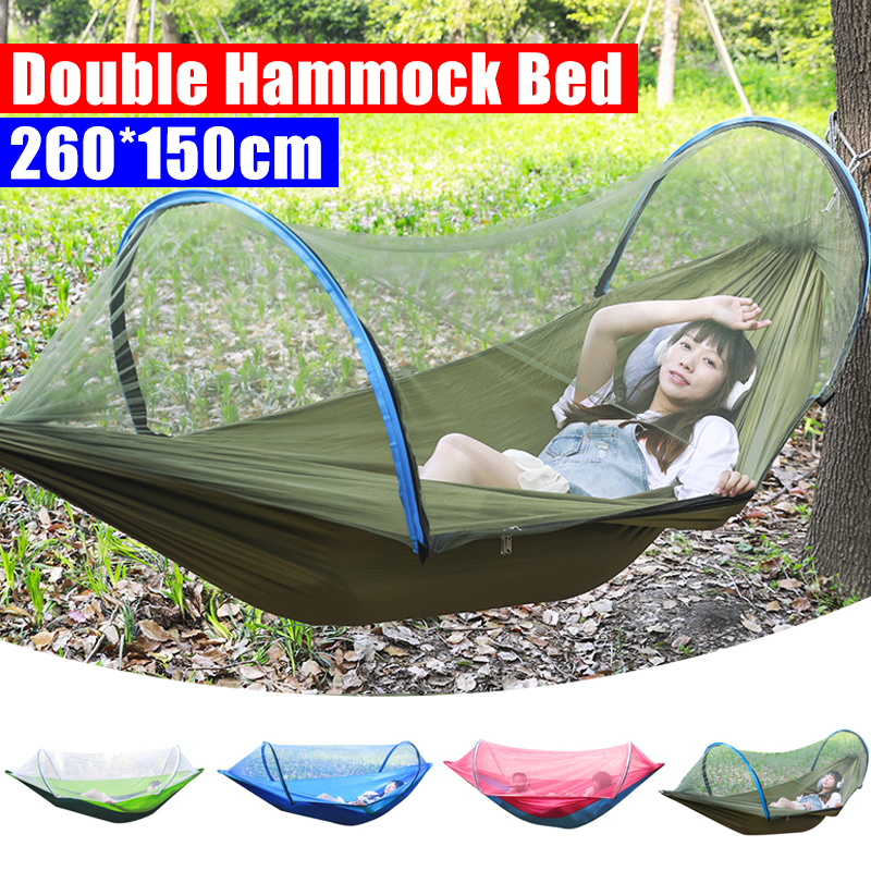2 Person Portable Outdoor Mosquito Net 260x150cm Parachute Hammock Camping Hanging Sleeping Bed Swing Double Chair Hanging Bed 1