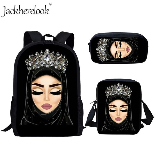 Jackherelook na co dzień torby szkolne dla dziewczyny hidżab twarzy muzułmanin islamska dziewczyna oczy drukuj kobiety plecak szkoła Bookbags Mochila Mujer